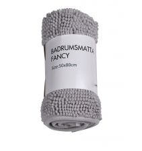 BADRUMSMATTA FANCY CHENILLE LIGHT GREY