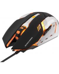 DELTACO GAMING OPTISK GAMINGMUS, ORANGE LEDS, SVART/SILVER