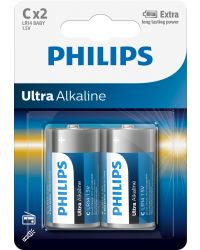 PHILIPS ULTRA ALKALINE LR14 C, 2-PACK