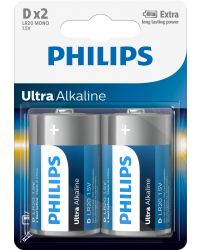 PHILIPS ULTRA ALKALINE LR20 D, 2-PACK