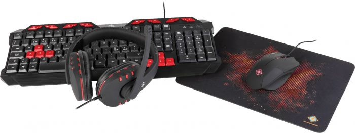 DELTACO GAMING 4-IN-1 GAMINGKIT, HEADSET, KEYBOARD, MOUSE, MOUSEPAD