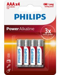 PHILIPS POWER ALKALINE LR03 AAA, 4-PACK