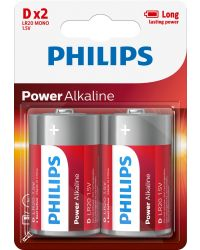 PHILIPS POWER ALKALINE LR20 D, 2-PACK